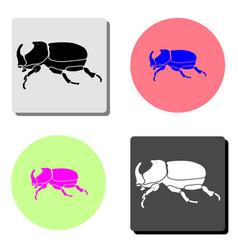 beetle rhinoceros flat icon vector image