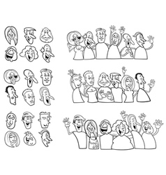 Black and white set of happy people vector