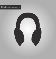 Black and white style icon headphones vector