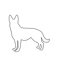 black outline silhouette of german shepherd dog vector image