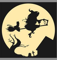 Black silhouette of witch flying on broom against vector