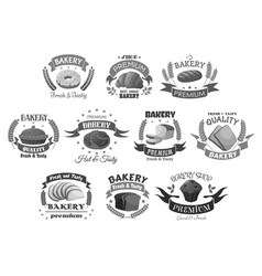 bread and bakery desserts icons set vector image