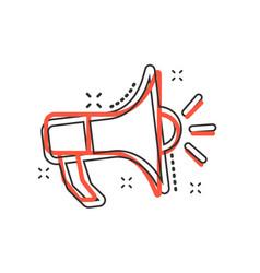 cartoon megaphone icon in comic style bullhorn vector image