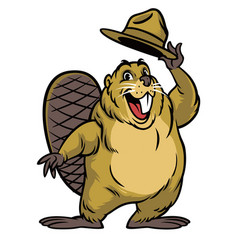 Cartoon of beaver character wearing a hat vector