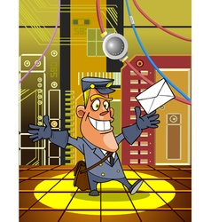 cartoon postman with a letter on the background vector image