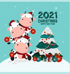 christmas card with a cow or a bull vector image