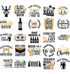 collection beer phrases slogans or quotes vector image