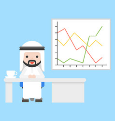 Cute arab businessman sitting at office with vector