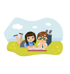 Cute boy and girl lying on lawn and reading book vector