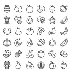 cute fruit and berries outline icon set 2 vector image