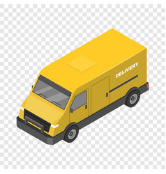delivery yellow truck icon isometric style vector image