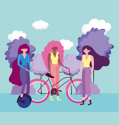 eco friendly transport group women with and vector image