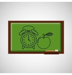 education concept blackboard with clock apple vector image