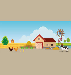 Farm with animals landscape background vector