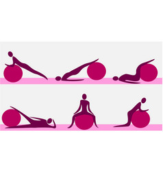 fitness training with gym ball vector image