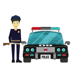 Flat design police officer with car vector