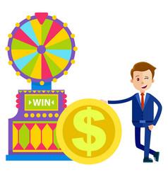 Fortune wheel gambler money dollar coin vector