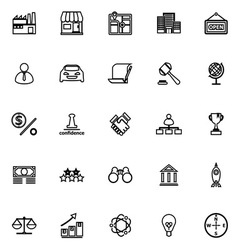 Franchise line icons on white background vector
