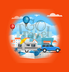go travel concept with car infographic vector image