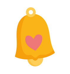 gold bell with heart cartoon isolated icon on vector image