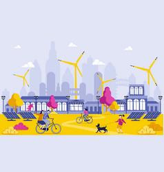 Green energy in big city cartoon vector