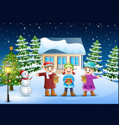 Group of kids in winter clotes singing christmas c vector