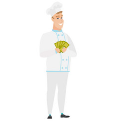 happy caucasian chef cook holding money vector image vector image