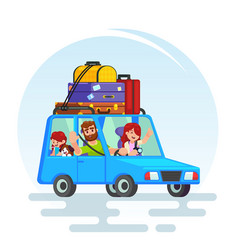 Happy couple car trip father mother girl dog vector
