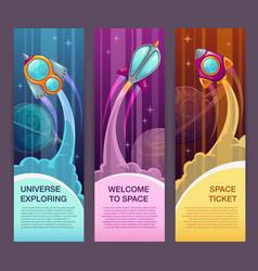 horizontal space banners set rocket launch vector image