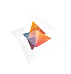 isolated abstract pink and orange color triangle vector image