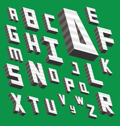 Isometric alphabet from a to z drawn in vector