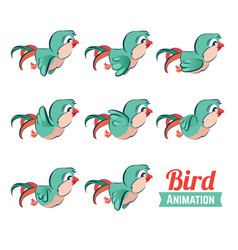 Key frames animation bird flying cartoon zoo vector