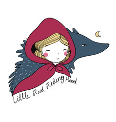 Little cute girl and a wolf vector