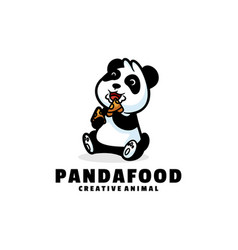 Logo panda food simple mascot style vector