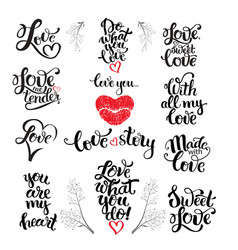 Love wedding and valentine lettering vector