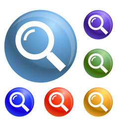 magnify glass icons set vector image
