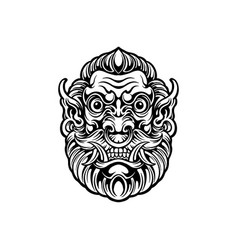 mask ogre head from south asian silhouette vector image