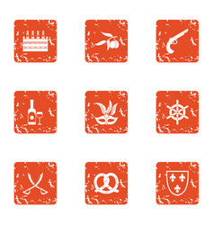 medieval party icons set grunge style vector image