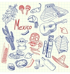 Mexico Symbols Pen Drawn Doodles Collection vector
