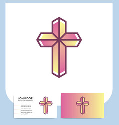 Modern church 3d cross logo christian symbol vector