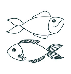 Monochrome sketch silhouette pair of types fish vector