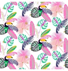 Monstera tropic pink plant leaves and toucan bird vector