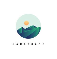 mountain with sunrise logo design vec vector image