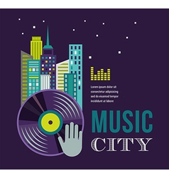 Music and night life of city landscape background vector