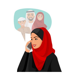 Muslim woman in hijab talking over phone vector