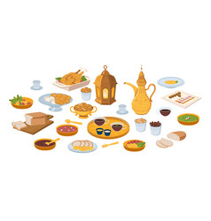 Muslims evening meal iftar food and drinks icons vector