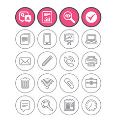 Office equipment icons computer and printer vector