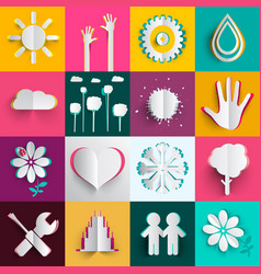 paper cut icons oset n colorful backgrounds vector image
