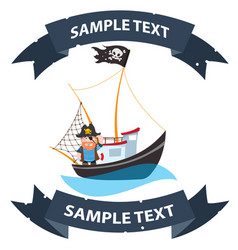 pirate frigate with ribbon banner pictures on a vector image