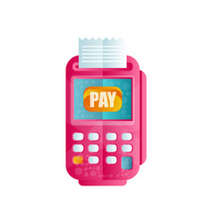pos terminal confirming the payment machine for vector image